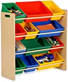KiddyPlay Wooden Storage Bin Rack - Primary Colours