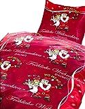 4 tlg. Bettwäsche 135 x 200 cm in rot/schwarz aus Microfaser Fröhliche Weihnachten Engel Doppelpack, mit Reißverschluss