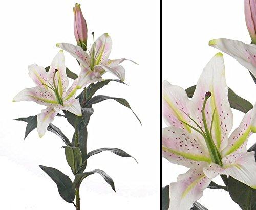"""Kunstblume Lilie """"Gefühlsecht"""" weiß-rosa, Länge 95cm – Kunstpflanze Kunstbaum künstliche Bäume Kunstbäume Gummibaum Kunstoffpflanzen Dekopflanzen Textilpflanzen"""