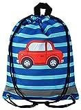 Aminata Kids - Kinder-Turnbeutel für Mädchen und Junge-n mit BAU-Fahrzeuge Feuerwehrauto Betonmischer Auto-s Sport-Tasche-n Gym-Bag Sport-Beutel-Tasche hell-blau rot Streifen