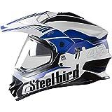 STEELBIRD SB-42 AIRBORNE MOTOCROSS HELMET MATT FINISH WITH PLAIN VISOR (LARGE 600 MM, MATT WHITE WITH BLUE)