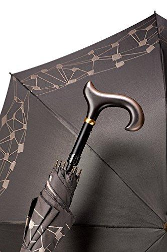 Stützschirm Gehstock Mini-Automatik MATRIX, eleganter Derbygriff aus Hartholz, hochwertiger Bezug in schwarz/weiß mit geometrischer Musterkante, höhenverstellbar, inklusiv Schlankpuffer. (Hartholz-gehstock)