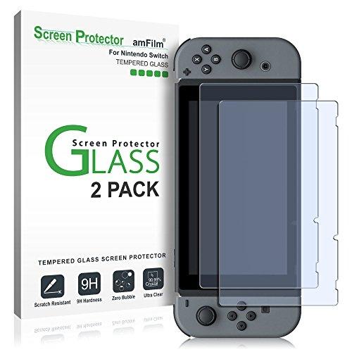 Nintendo Switch Protector de pantalla de vidrio, amFilm Nintendo Switch Protector de pantalla de vidrio templado para Nintendo Switch 2017 (2-Pack)