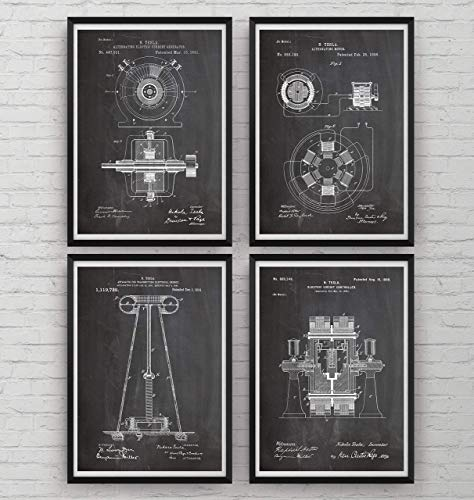 Tesla Patent Prints   Set Of 4   Engineering Gift Engineer Science Vintage  Blueprint Wall Poster