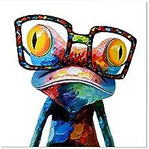 Ming-Pinturas Modernas Sin Marco -Rana Con Gafas, Cuadro Pintura de Pared Impresión de Moderna Lona Arte Decoración Salón Moderna Abstracto Arte en Pintado ( De Frameless )