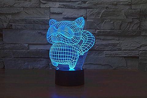 3D-Visualisierung Erstaunlich leuchten LED Lampen-Nachtlicht-Birnen-Waschbär-Kunst-Skulptur leuchtet im produziert einzigartige Lichteffekte Cartoon und 3D-Visualisierung erstaunliche optische Täuschung Sieben Farben verwandeln