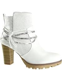 Angkorly - Zapatillas de Moda Botines cavalier stile vendimia zapatillas de plataforma mujer piel de serpiente perforado tanga Talón Tacón ancho alto 8 CM - Blanco