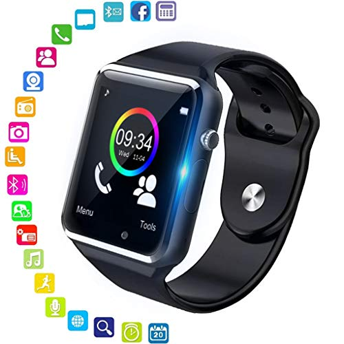 Smart Watch, jpantech Bluetooth Smartwatch Fitness Tracker with Camera SIM Card Slot Pedometer Sports Smart Watch for Men Women Kids, for Android iPhone (black)