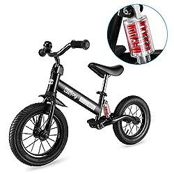 Besrey Laufräder Laufrad Mit Stoßdämpfern und 12-Zoll-Luftreifen. Der Griff und die Sitzhöhe sind einstellbar. 3-5 Jahre. Schwarz.