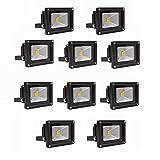 MCTECH 10W LED Strahler Flutlichtstrahler LED Fluter Flutlicht Kaltlicht Scheinwerfer Innenstrahler Außenstrahler Wasserdicht IP65 Lampe Warmweiß Schwarz 10 Stück