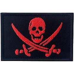 Bandera Pirata Táctico Militar Emblema Moral Aplique Broche Bordado de Gancho y Parche de Gancho y bucle de cierre, Rojo