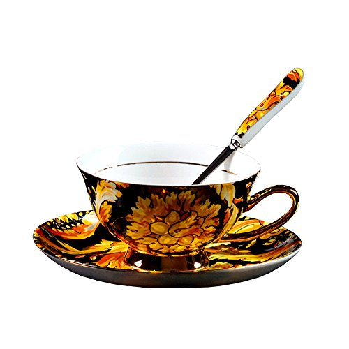 Porzellan Keramik Tee-Tasse Kaffeetasse, Phönixfeder, Gelb Und Schwarz