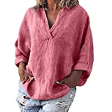 Dwevkeful Camisetas Camisetas Mujer Manga Larga 2019,Algodón Cuello Redondo Moda Color Sólido, Verano Camiseta Blusas Elegantes Fiesta Tops Mujer Deporte Tops Verano Cortos