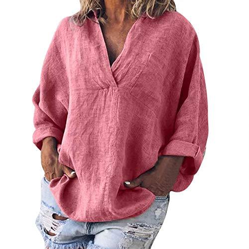 nfarbig Mode Plus Größe Solide Lässig Leinen V-Ausschnitt Bluse T-Shirt Atmungsaktives Laufshirt(L,Rosa) ()