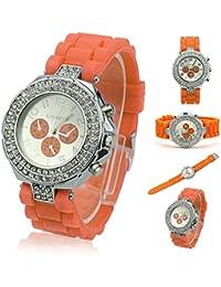 HeroNeo® Lujo Ginebra silicona cristal cuarzo señoras mujeres Jelly Dial muñeca reloj nuevo, naranja