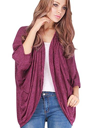 ZKOO Cardigan Manica a Pipistrello Donna Autunno Sciolto Outwear Jacket Giacca Top Elegante Rosa