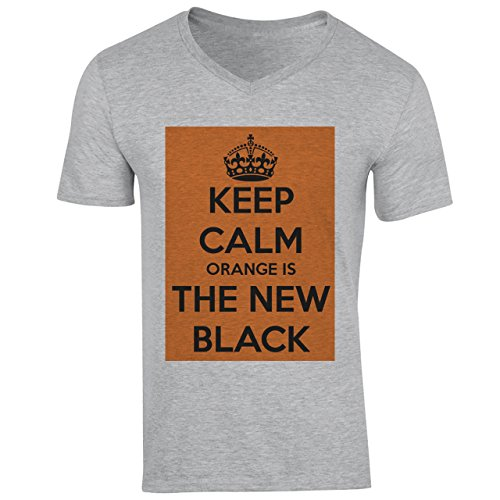 Keep Calm Orange Is The New Black Herren V-Neck Grau