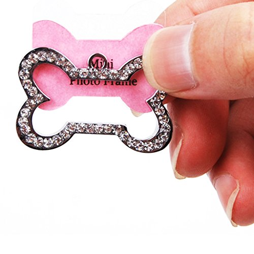 Generic Pet Tag Dog Cat ID Address Photo Collar Charm Bone Shape Rhinestones Silver