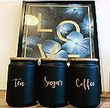 'Tea Coffee Sugar Labels, Kitchen Storage Stickers, Copper Vinyl Decal