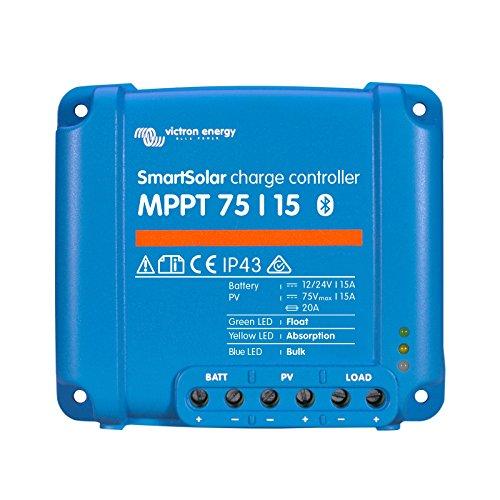 Victron SmartSolar MPPT 75/1515A Solar-Laderegler für Solarmodule bis 220W (12V)/440W (24V) und bis zu 75V mit eingebauten Bluetooth für Advanced System Monitoring und Programmierung. Solar-monitoring-system