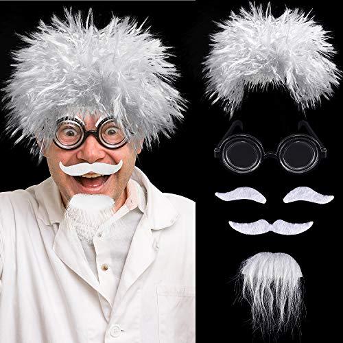 Mad Wissenschaftler Perücken Set, Enthalten Albert Einstein Kostüm Perücke, Nerd Brille, Kunst Schnurrbart und Augenbrauen für Kostüm Partys, Halloween, Wissenschaft Thema Kostüm Party Opa - Einfache Nerd Kostüm