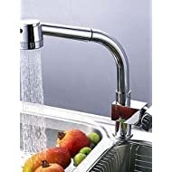 Contemporary Brass Chrome Finish One Hole One Handle Rotatable Pull Out Kitchen Faucet