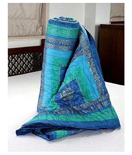 Handcraftd Sanganeri Blue Cotton Printed Quilt ,Rajai,Razai(Single Bed Quilt )