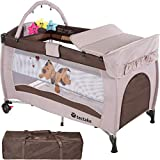 TecTake New Portable Child Baby Travel cot Bed playpen with entryway -Different Colours- (Coffee)