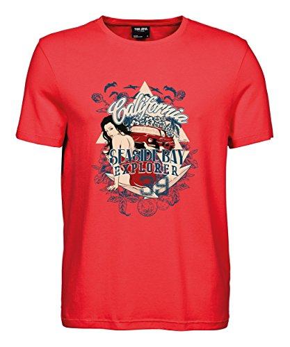makato Herren T-Shirt Luxury Tee Adventure Explorer Coral