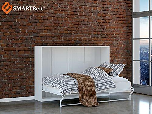 Wandbett SMARTBett horizontal Klappbett Gästebett Schrankbett , Liegefläche 120x200cm, weiß - 2