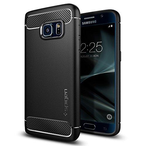 Samsung Galaxy S7 Hülle, Spigen® [Rugged Armor] Elastisch [Schwarz] Ultimative Schutz vor Stürzen und Stößen - [Karbon Look] Schutzhülle für Samsung Galaxy S7 Case, Samsung Galaxy S7 Cover, Samsung S7 Case, Samsung S7 Cover - Black (555CS20007)