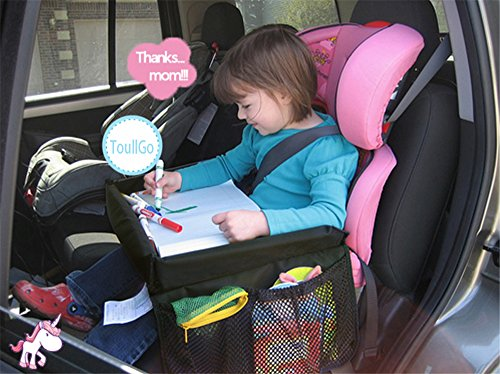 Tavolo da gioco per seggiolino auto, accessorio per seggiolino da viaggio con tasche in rete, gioco da auto per bambini, design ultra sottile, facile da installare e facile da smontare