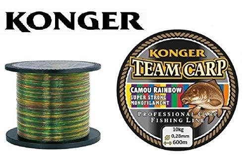 Konger Angelschnur Team Carp Camou Rainbow 600m Spule Monofile Karpfen Schnur (0,28mm / 10,00kg)