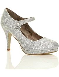699647fd7b7f Ajvani Womens Ladies mid high Heel Mary Jane Evening Work Platform Court  Shoes