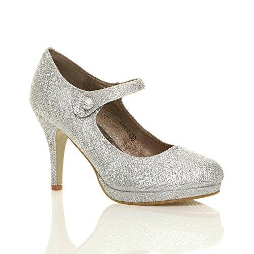 Damen Mittel Hoher Absatz Mary Jane Riemen Abend Elegant Pumps Schuhe Größe Silber Netz Glitzer