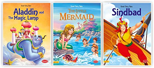 fairy tales story books for kids-Great Fairy Tales - Aladdin & Magic Lamp-Little Mermaid-Sindbad-Combo-8 of 3 Books