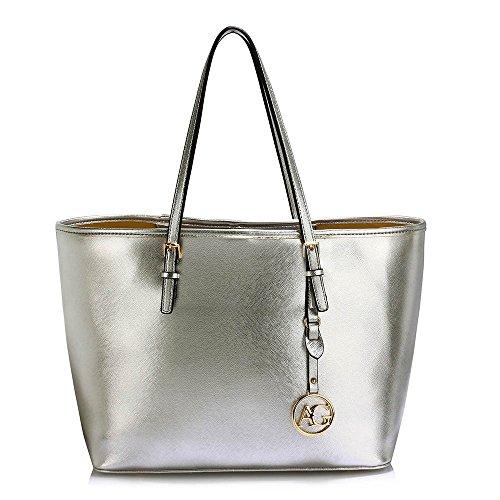 Damen Faux Leder Tote Tasche Mit Oben Griff - Gold Metall Arbeit Um Das Tasche (Wildleder Tote Griffe)