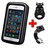 ICOOM Support pour Smartphone Waterproof Universel Double Fixation Guidon Moto, Vélo, Bicyclette, Cyclisme avec Étui Imperméable pour GPS, Apple, Android, Smartphone (L-Noir)