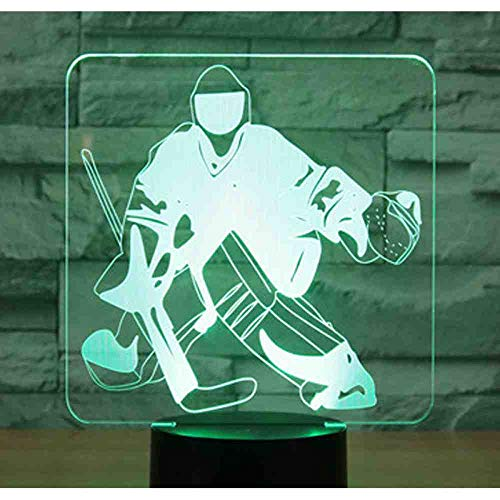 CDBAMX 3D Led Night Light Ice Hockey In Front Of Goal With 7 Colors Light For Home Decoration Lamp Amazing Visualization Optical -