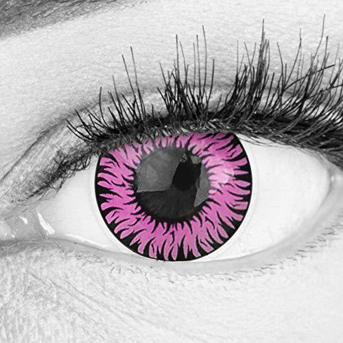 Farbige Pinke Kontaktlinsen Anime Werewolf Pink Circle Lenses Ohne Stärke Heroes Of Cosplay Stark Deckend Intensive Farben mit gratis Linsenbehälter farbig für Halloween Fasching