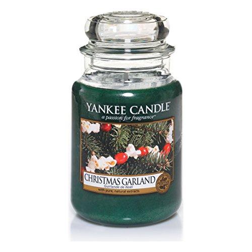 Yankee candle 1316480e christmas garland candele in giara grande, vetro, verde, 10x9.8x17.7 cm