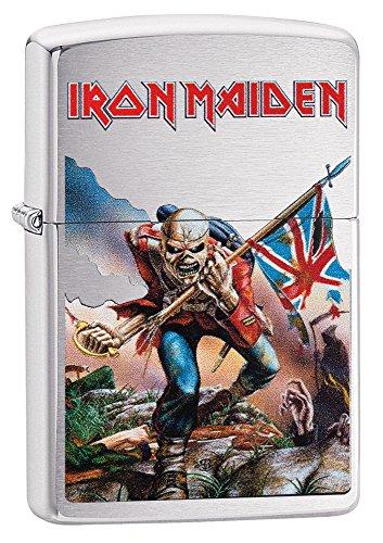 Zippo Iron Maiden Trooper Resistente al Viento más Ligero-Cromo Cepillado, Unisex, Iron Maiden Trooper, Brushed Chrome