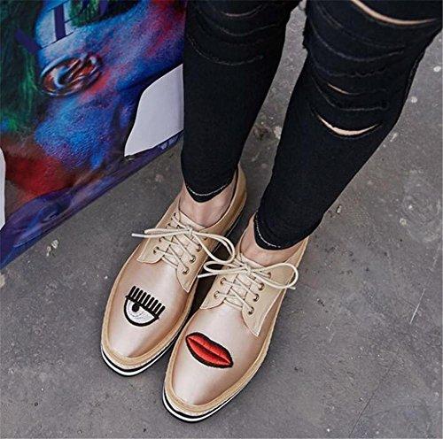 Scarpe da donna piattaforma Cuneo Pelle satinata Ricamo Labbra rosse Allacciare Taglia 36To39 Beige