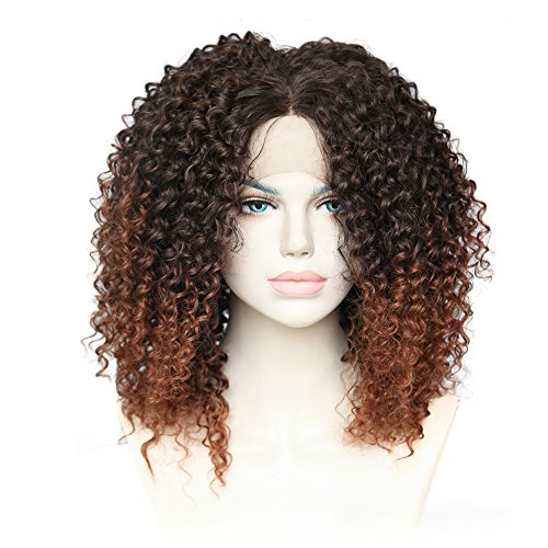 Cbwigs Afro Kinky Curly Two Tone Ombre Brown Synthetic Lace Front Wigs Long Fluffy Heat Resistant Fiber Hair Full Wig for African American Women 16 inch #2/30 (2.5 inch Deep Parting Space) -