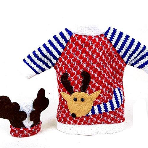 Weihnachtsdekorationen Christmas Store Weihnachten Gestrickte Weinflasche Abdeckung für Feiertags-Dekoration Weihnachtsfest-Bevorzugungen (blau) 1PC