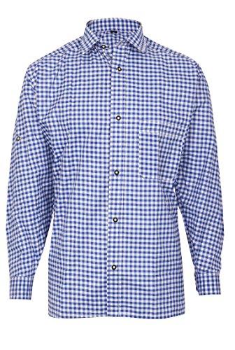 MS-Trachten Herren Trachtenhemd blauweiß kariert S