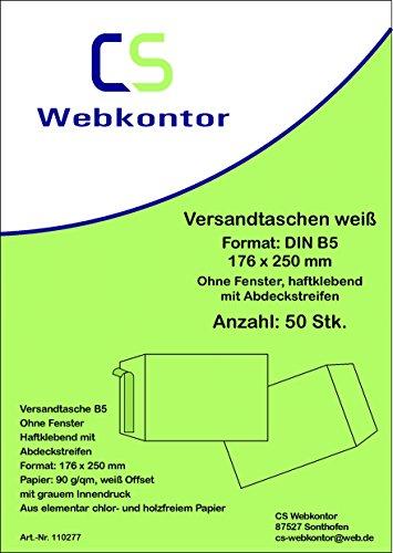 50unidades. Sobres de Envío B5(176x 250mm) Compensar Color Blanco, Sin Ventana, pegamento con tira removible
