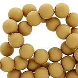 Sadingo Bunte Acrylperlen, Kunststoffperlen matt - rund bastel Perlen - 6 mm - 100 Stück - Acrylperlenset - Acryl Perlen Armband, Farbe:Mustard Braun
