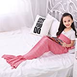 Kid's Knitting Pattern Mermaid Tail Blanket by Moens, Soft and Warm Mermaid Tails Sleeping Bag Air Conditioning Blanket Slumber Bag Cute Mermaid Gift 130X70cm ( 51.18X27.56 inch ) (Light Pink)