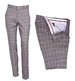 Sta Press - Pantaloni da Golf da Uomo, Stile Classico, retrò, Aderenti, con Parte Anteriore Piatta, in Tweed, Multicolore (38' U.K / 97 cm)